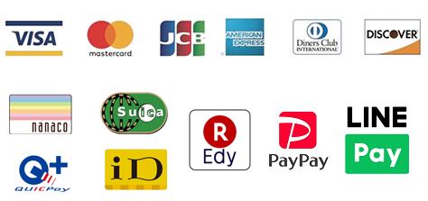現金、各種クレジットカード、PayPayでのお支払いが可能です。